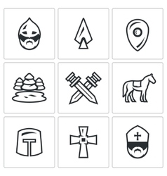 Set of ice battle icons warrior spear vector