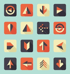 Flat Arrow Icons With Shadows vector image vector image
