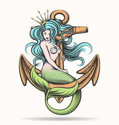 mermaid with crown on the anchor vector image vector image