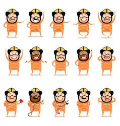 set of flat firemen cartoon character icons vector image vector image