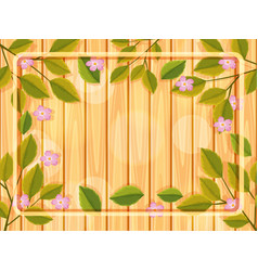 wooden background with flower frame vector image