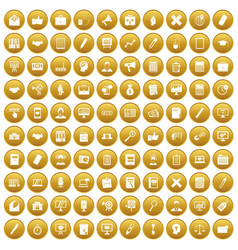 100 finance icons set gold vector