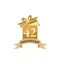 42 years gift box ribbon anniversary vector