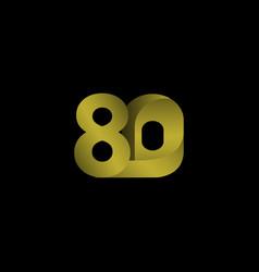 80 years anniversary celebration gradient gold vector