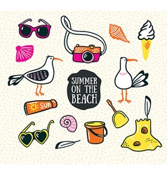 A set of cute summer and beach icons hand drawn vector