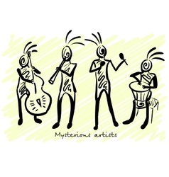 Abstract mysterious musicians Corporate identity vector image