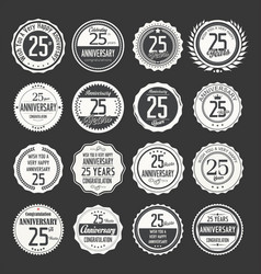 Anniversary retro labels 25 years collection 2 vector
