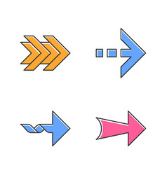 Arrows color icons set double dotted twisted wide vector