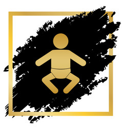 baby sign golden icon at vector image