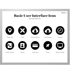 basic ui icons rounded solid pack vector image