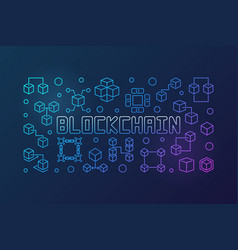 Blockchain crypto bright outline horizontal vector