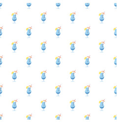 Blue cocktail with slice of lemon pattern vector