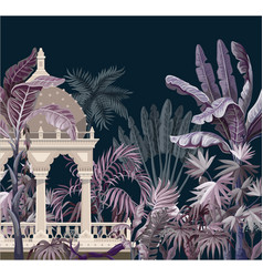 border with jungle trees and ancient castle vector image