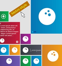 Bowling game ball icon sign buttons modern vector
