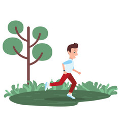 boy running in green park tree and grass isolated vector image