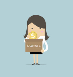 businesswoman putting coin in the donation box vector image