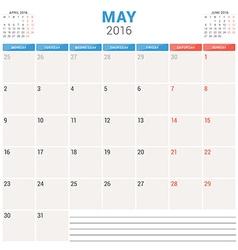 Calendar Planner 2016 Flat Design Template May vector