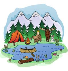 camping in woods cartoon vector image