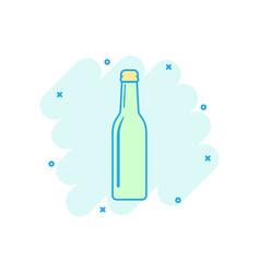 cartoon wine beer bottle icon in comic style vector image