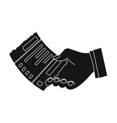 check in hand e-commerce single icon in black vector image