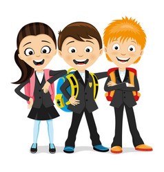 Cheerful school children with school backpacks vector