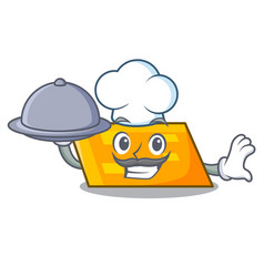 chef with food parallelogram mascot cartoon style vector image