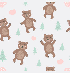 Childish seamless pattern with cute bear creative vector