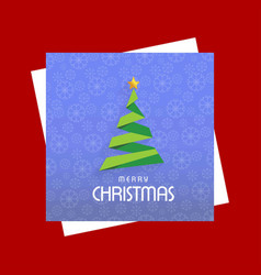 chrismtmas card with pattern background and tree vector image