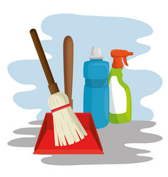 cleaning supplies with spray broom dustpan vector image