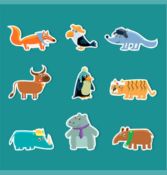 collection of cute cartoon animal stickers fox vector image