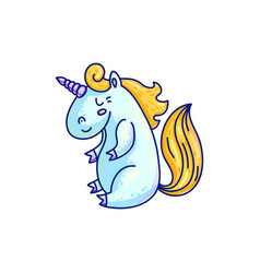 Colorful blue and gold unicorn vector