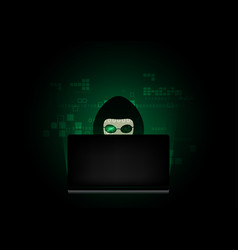 computer hacker silhouette of hooded man with vector image