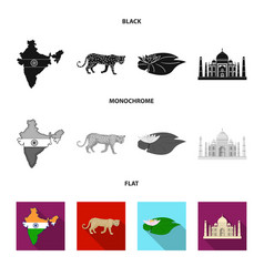 Country india black flat monochrome icons in set vector