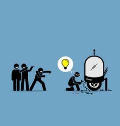 Critics mocking and making fun an inventor vector
