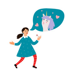 cute girl dreams about unicorn vector image