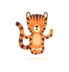 Cute little tiger meditating in lotus position vector