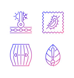 Different fabric features gradient linear icons vector