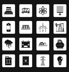 Energy sources items icons set squares vector