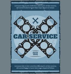 Engine gasket poster car service station vector