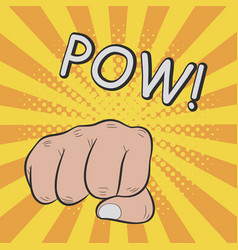 fist hitting or punching pow vector image