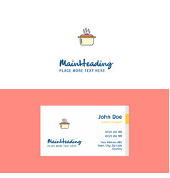 flat cooking pot logo and visiting card template vector image