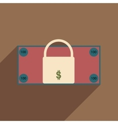 Flat with shadow icon lock and dollar vector