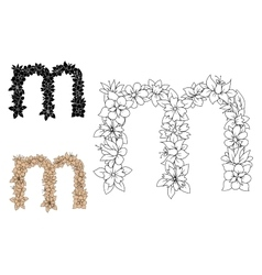Floral decorative lowercase letter m vector image