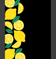 frame with whole slices and leaves lemons vector image