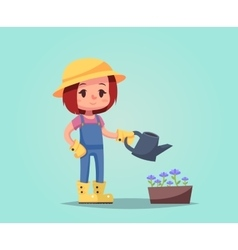 Girl woman happy cartoon gardener with watering vector