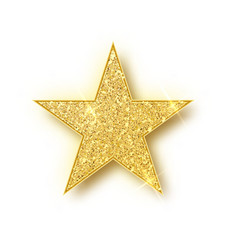 Gold glitter star isolated golden sparkle vector