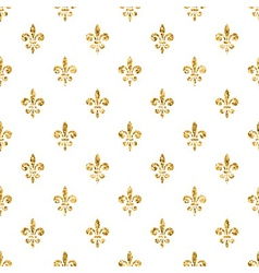 Golden fleur-de-lis seamless pattern white 4 vector
