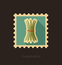 Green bean flat stamp vegetable vector