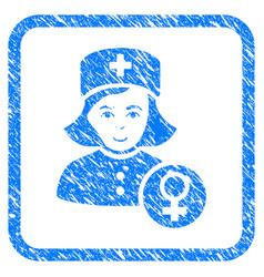 Gynecologist lady doctor framed stamp vector
