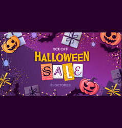 Halloween sale poster with jack o lantern vector